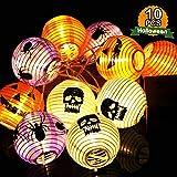 OurWarm LED Stringa di Luci Halloween Luci Della Stringa a Batteria, 10 luci staccabili Luci della Festa di Halloween per decorazioni di Halloween di zucca con teschio di ragno, 8,2 piedi