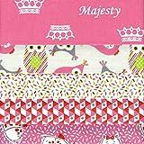 Textiles français Stoffpak bundle de telas - 5 telas: rosa con rojo, gris, rosa, anís y blanco - colección de telas 'Majesty' | 100% algodón | 50 cm x 40 cm