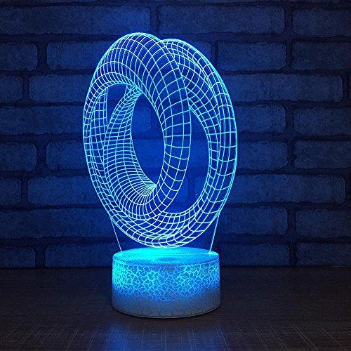 MAFYU 3D Illusion LED Nacht Lampe Kreis Design Kreative 7 Farben Kleine Lampe Desktop-Tischdekoration Touch + Fernbedienung