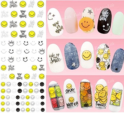 Autocollants de transfert à eau pour la décoration des ongles Visages souriants Nail Sticker Tattoo - FashionLife