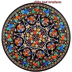 """Sofá mesa Top 42""""redondo de mármol negro incrustaciones de cristales de colores hecho a mano diseño de flores"""