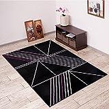 Alfombra De Salón Moderna – Color Negro Púrpura De Diseño Tela De Araña – Suave – Fácil De Limpiar – Top Precio – Diferentes Dimensiones S-XXXL 200 x 300 cm