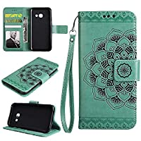 Galaxy J5 Prime Case , Galaxy On5 2016 Wallet Case, EST-EU Retro Mandala Embossing PU Leather Stand Function Protective Covers with Card Slot Holder Wallet Book Case for Samsung Galaxy J5 Prime / On5 2016, Green