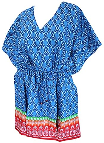 La Leela Beach Cover ups Dresses Swimsuit Blouse Caftan Bikini Bathing Resortwear Gifts Kaftan Tops Tunic For Women's 100% Cotton Printed Plus Size Drawstring Blue Gift Spring Summer