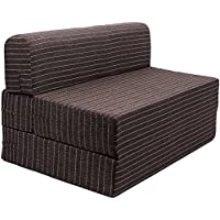 Uberlyfe Sofa Cum Bed - Perfect for Guests - Jute Fabric Washable Cover -Chocolate Brown| 4' X 6' Feet (SCB-001726-BR_A)