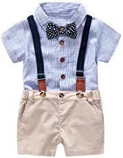 Outtop(TM) Summer Gentleman Bowtie and Rompers Striped,Short Sleeve Shirt+Overall Shorts Outfits Clothes 12M(6-12months) Blue