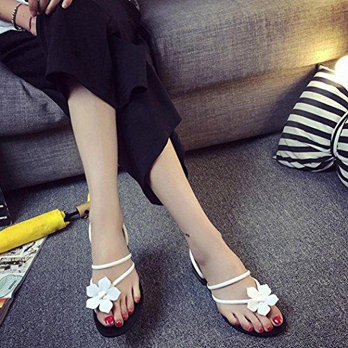 Frauen Bohemia Dame Flower Weave Sandalen Strand Peep-Toe Flip Flops Schuhe Hausschuhe White