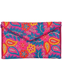 Shubhangi Women's Sling Bag (Jaipuri Embridered Handicraft Traditional Sling Bags,Multi-Coloured, R32024 Pink)