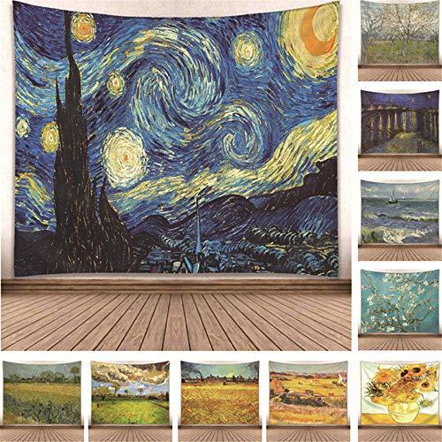 zhangkaixiang Europäische und Amerikanische Wind Star Moonlight wandbehang Van Gogh berühmte malerei Serie Wohnzimmer Dekoration hängen Tapisserie GP15002 150 * 130
