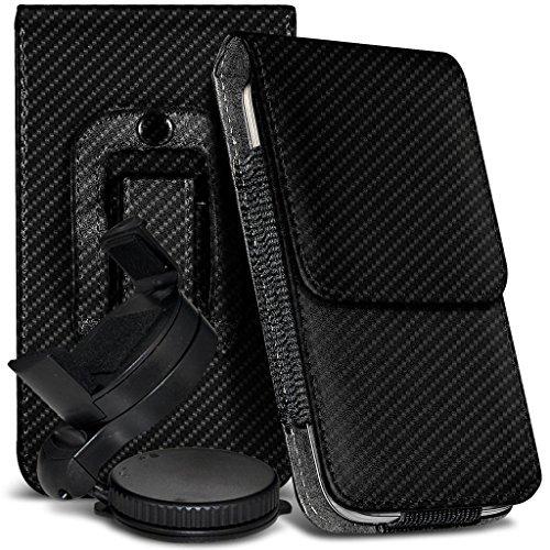 Preisvergleich Produktbild N4U Online - Wileyfox Storm 4G Premium Karbonfaser Tasche Gürtel Holster Schutzhülle & Mini Auto Halterung