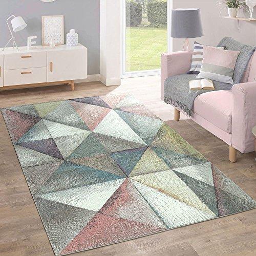 Paco Home Alfombra Moderna Diseño Triángulos Colorido Pastel, tamaño:120x170 cm
