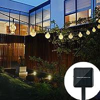cuzile exterior funciona con energía solar, luces de jardín, resistente al agua 22m 30LED Bola De Cristal funciona con energía solar luces para Navidad, árbol, casa, vacaciones, valla, Patio, boda, Patio Decoración para Fiesta, amarillo