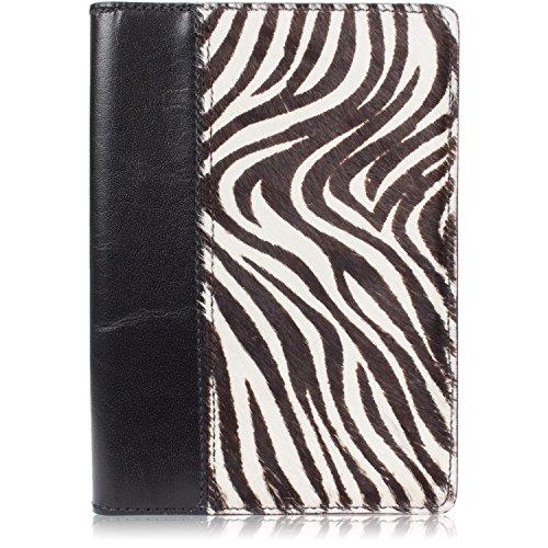 Echt Pelziges Tier Print Leder Notebook Padfolio Small ( 5x8 Notepad ) Zebramuster - Fälle Laptop Zebra-print