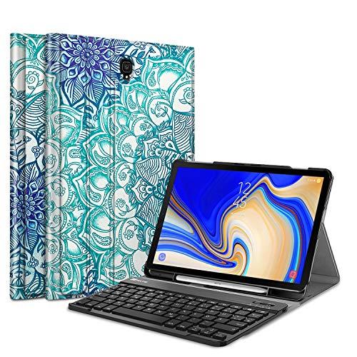 Fintie Tastatur Hülle für Samsung Galaxy Tab S4 T830 / T835 (10.5 Zoll) 2018 Tablet-PC - Ultradünn Schutzhülle mit magnetisch Abnehmbarer drahtloser Deutscher Bluetooth Tastatur, smaragdblau