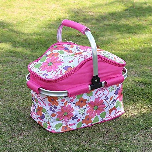 Faltbare Kühlkorb Picknickkorb Picnic Kühltasche Picknicktasche Zusammenklappbare Kühltasche Korb für Arbeitung Party BBQs und Outdoor Picknick- (ROSE)