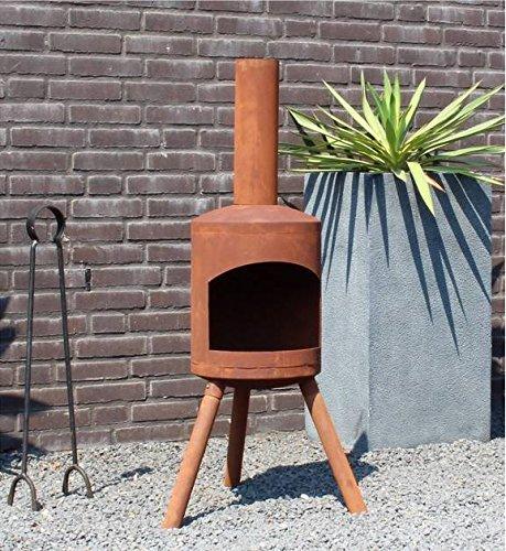 Terrassenofen Authentic Small rostigen Look - 115 cm Hoch! Mit rostigen Oberfläche - Hohe Qualität