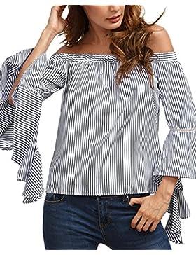 StyleDome Maglie Donna Maglietta Righe Manica Lunga Bluse T-Shirt Sciolto Elegante Casual Top