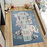 TAPISO Tapis Chambre Des Enfants Salon Moderne – Motif Jeu De Marelle – Animaux Eléphant Giraffe – Couleur Bleu Marine – Collection Happy 80 x 150 cm