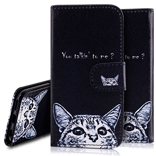 Custodia iPhone 6S 4.7 Cover iPhone 6 4.7,Ukayfe Stitching Colore Flip Case Cover per iPhone 6S 4.7,iPhone 6/6S Lussuosa Astuccio Custodia Cover [PU Leather] [Shock-Absorption] Protettiva Portafoglio Gattino