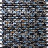 Carrelage Tapis en mosaïque bleu, noir et argent en verre et pierre naturelle. Texture effet floral Brique (mt0126)