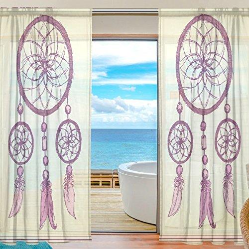 Cortina de gasa para ventana, atrapasueños, diseño étnico, material suave para dormitorio, sala de estar, cocina, decoración de puertas, 2 paneles de 198 x 139,7 cm