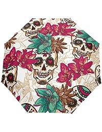 bennigiry Halloween rosa azúcar calaveras 3Folds Auto Abrir Cerrar paraguas compacto de viento portátil durabilidad viaje lluvia paraguas fácil de llevar