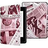 MoKo Kindle Paperwhite Case, Premium Thinnest and Lightest Leather Cover with Auto Wake / Sleep for Amazon All-New Kindle Paperwhite (Fits All 2012, 2013 and 2015 Versions), Newspaper Wine RED
