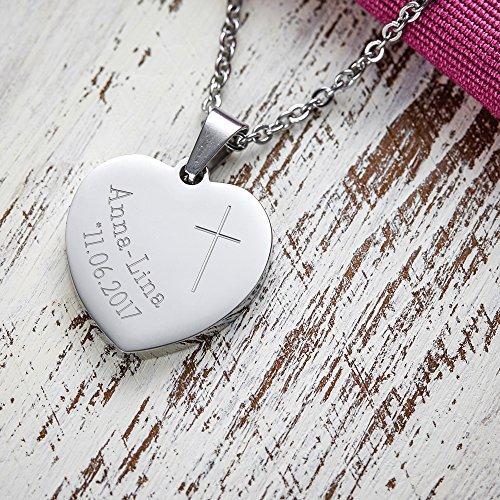 Gravado Mädchen Kette mit Anhänger aus Edelstahl – Herz Anhänger mit Gravur zur Taufe – Kreuz – Personalisiert mit [Namen] und [Datum] – Halskette zur Konfirmation und Kommunion – Taufgeschenk