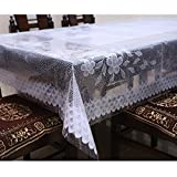 #9: Kuber Industries™ White Printed Dining Table Cover 6 Seater (Dimension-60*90 Inches) KI16515