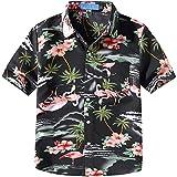 SSLR Jungen Hemd Kurzarm Hawaiihemd mit Flamingos Baumwolle Freizeithemd Aloha Shirt (X-Large (13-16Jahren), Schwarz)