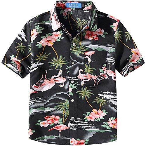 SSLR Jungen Rosa Flamingos Button Down Casual Kurzarm Hawaii Hemd (Small (7-8Jahren), Schwarz)