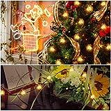 Cadena de Luz LED con Energía Solar WEINAS Luces Solares de La Secuencia, Luz de Decoración Exterior / Interior Impermeable para Hogar, Fiestas, Boda, Arbóles Navidad, Jardín, Patio, Terraza y al Aire Libre (Interruptor Individual)