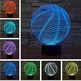 3D Tisch Nachttischlampen,KINGCOO 3D Optische Visualisierung LED Licht USB Schreibtischlampen Stimmungslichter Touch Schreibtisch 7 Farbwechsel Atmosphäre Lampe (Basketball)