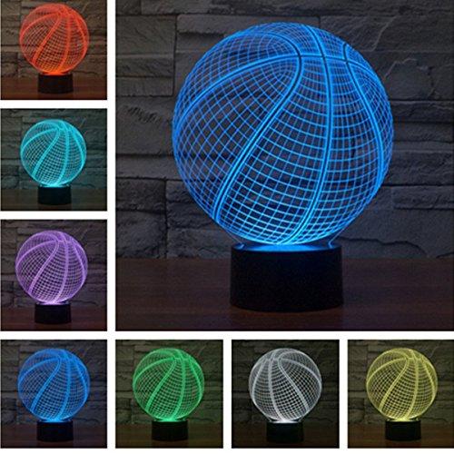 ampen,KINGCOO 3D Optische Visualisierung LED Licht USB Schreibtischlampen Stimmungslichter Touch Schreibtisch 7 Farbwechsel Atmosphäre Lampe (Basketball) (Licht Basketball)