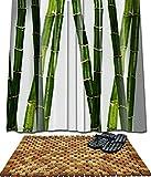 RIDDER Set Badematte Holz 80x50 + Textil-Duschvorhang 180x200 Badvorleger Duschabtrennung (Badematte Gitter + Vorhang Fiona)