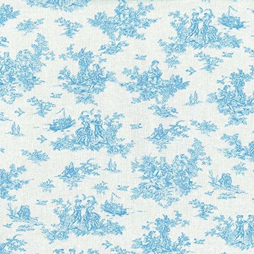 Tessuto Toile De Jouy La Petite Toile De Jouy Blu Azzurro Su