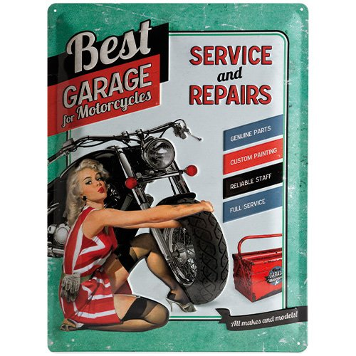 Nostalgic-Art 23151 Biker's Corner Best Garage, Blechschild, 30 x 40 cm, grn