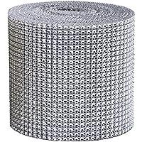 24 Reihen 9 M/Rolle Strassband Acrylic Rhinestone Diamant Band Dekoband, Für Hochzeit Geburtstag Torte Gastgeschenkbox Verzierung Handwerk,Silber