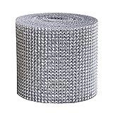 24 File 9M/ Rotoli Acrilico Strass Diamante Nastro,Per Bling nuziale, Bouquet, cornici, vasi, matrimonio e decorazione del partito, Argento