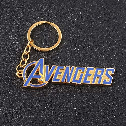 VAWAA Hot Movie The Avengers 4 Blue Letter Keychains Super Hero Thor Hammer Mjolnir Keyring Women Iron Man Loki Chaveiro Schmuck