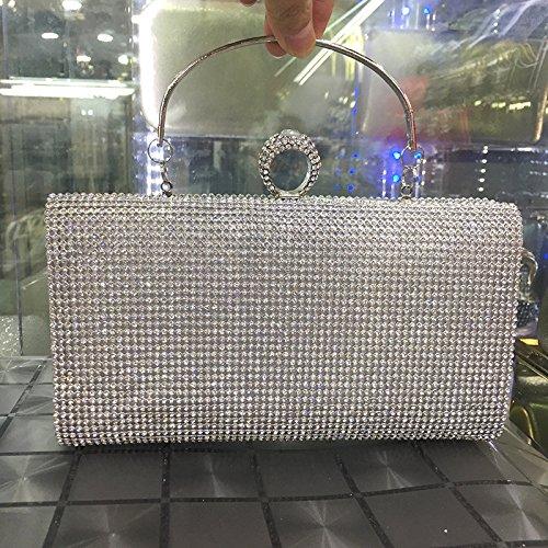 Ms Pochette Handtasche Sirena Diamante Diamante Commercio Yanbao Braut Piazza Signora Argento Trapano Doppio Lato