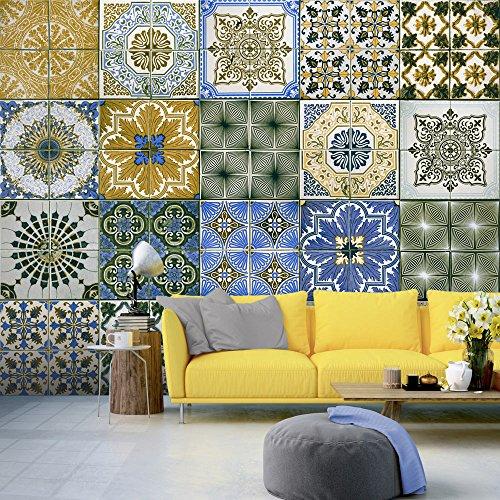 murando - PURO TAPETE - Realistische Tapete ohne Rapport und Versatz - Kein sich wiederholendes Muster - 10m Vlies Tapetenrolle - Wandtapete - modern design - Fototapete - Mosaik Ornament f-A-0528-j-d (Mosaik Moderne)