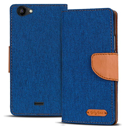 Conie TW44612 Textil Wallet Kompatibel mit Wiko Rainbow Jam, Textil Hülle Klapptasche mit Kartenfächer Etui Slim Cover für Rainbow Jam Handyhülle Jeans Blau