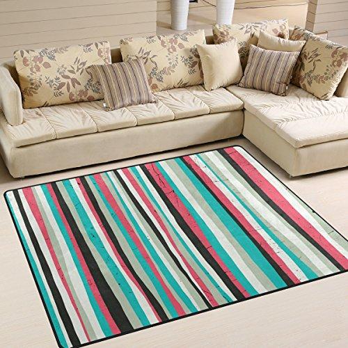 COOSUN Teppich mit Streifen in Teppich, rutschfest, Badematte Doormats für Wohnzimmer Schlafzimmer 63x 48cm, Textil, multi, 80 x 58 inch (Teppich Shag Kinder Rosa)