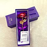 """Ranipobo Romantic Red Rose Flower Long Stem 24k Gold Color Plated Leaf """" Love and Thank you"""" Glitter Floral Valentine's Day Gift with Free Box"""