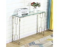 Table Console Table d'entrée Bacyion Table d'Appoint Bout de canapé, Dessus de Table en Verre trempé, Cadre métallique, Robus