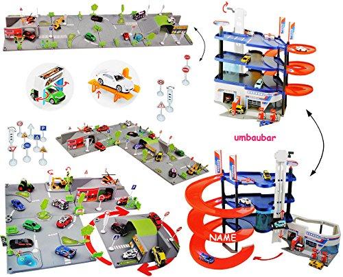 """XXL Set _"""" Parkhaus - Garage mit 4 Ebenen + Spielset Straße Kreisverkehr """" - incl. Name - UMBAUBAR - 1/64 - Spielwelt - Straßen - Waschstraße - Tankstelle + Zubehör - Autogarage - Parkgarage - zum Spielen + Bauen aus Plastik / Kunststoff - für Auto / Fahrzeuge - Kinder - Spielzeug / Spielmatte - Hebebühne - Autowerkstatt - Spielzeugwelt 1:64 - Spielteppich Kinderteppich / Spielmatte"""