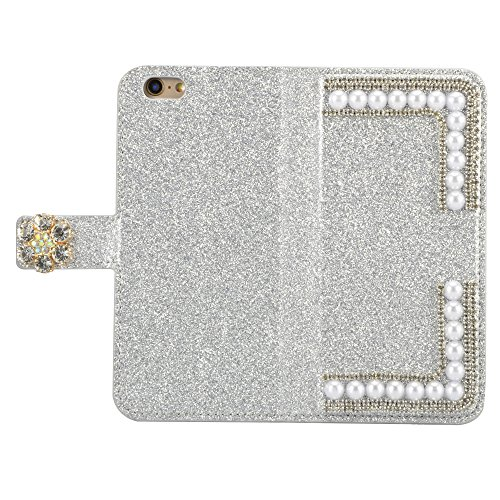 Strass Case pour iPhone 6 6S Coque, Sunroyal Bling Bling Diamant Shell en PU cuir Portefeuille Universelle Flip Bookstyle Back Cover de Protection Pare-Chocs Téléphone Wallet Case Design 3D Cristal Sp Bling Argent