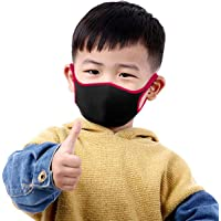 THE BLAZZE 2008 Kids Adjustable Anti-Dust Anti Pollution Reusable Washable Face Mouth Mask (Black-DarkPink)
