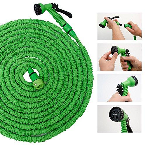 eyepower Manguera de riego extensible con la presión del agua hasta 3 veces su longitud original 10m-30m incl Pistola Rociadora 7 chorros diferentes
